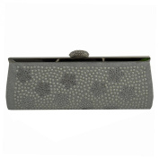 Clutch Bag, Evening Bag with Diamante Detail - Silver