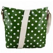 Green & White Polka Dot Spot Oilcloth Ladies Messenger Fashion Bag Handbag With Hanging Heart Gift