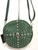 GREEN LEATHER LOOK SKULL STUDS ACROSS BODY BAG HANDBAG NEW TAGS BIKER GOTH BEDLAM