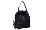 Maxima Milano Women's Genuine Italian Textured Leather Bucket Bag / Shoulder Bag with Detachable Shoulder Strap