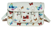 38cm Pastel Green Butterfly Satchel - 100% Real English Leather - Oxbridge Satchel - Multi-coloured Butterfly Print Fashion Retro School Bag - Made in UK