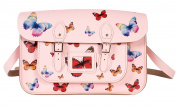 38cm Pastel Pink Butterfly Satchel - 100% Real English Leather - Oxbridge Satchel - Multi-coloured Butterfly Print Fashion Retro School Bag - Made in UK