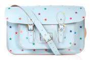38cm Baby Blue with Multi-coloured Stars Pattern English Leather Oxbridge Satchel - Fashion Retro School Bag