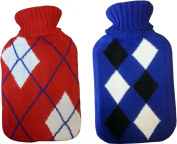 2 x Supahome Hot Water Bottle With Knitted Cover 2 Litres