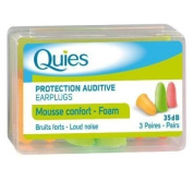 Quies Earplugs Foam 3 Pairs 35 dB Noise Reduction Barrier Against Loud Noise New Pack Of 1