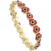 Gold & Red Glossy Enamel Poppy Flower Stretch Bracelet