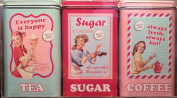 SET 3 CLASSIC RETRO 50's Style teal & pink tea sugar coffee canisters tin kitchen storage