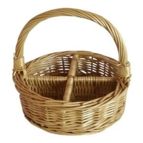 Wicker Basket With Sections : Section round buff willow wicker condiment divided