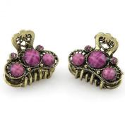 Tiara Crest - Rhinestone Inlay - Two Piece Set - Hair Claw - Violet Pink