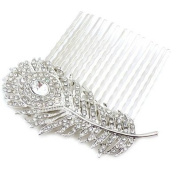 Bridal Hair Accessories. Crystal Peacock Feather Comb Slide