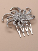 4410 2cm silver colour side comb with crystal flower Wedding Party Prom Bride
