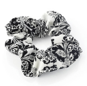 White & Black Paisley Print Hair Scrunchie AJ28017