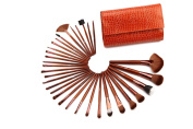 Glow 32 Piece Crocodile Leather Design Professional Makeup Brushes in Tan Case