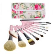 Professional 12pcs English Pink Rose Make Up Cosmetic Makeup Brushes Kit Set with Case