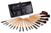 Glow 19 Piece Wooden Handle Professional Makeup Brushes in Black Case