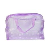 2x New Floral Print Transparent Waterproof Cosmetic Make Up Bag Bathing Purple