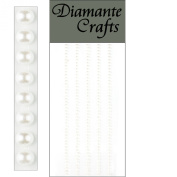 220 x 2mm White Pearls Self Adhesive Strips Rows Rhinestone Body Nail Vajazzle Gems - created exclusively for Diamante Crafts