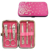 Tru Yoo Nail Care Kit Set Pedicure Manicure Cutter Cuticle Clipper Gift Pink Case 7PCS
