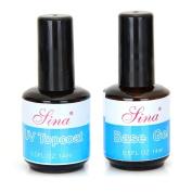 2 x Bottles Top Coat Primer Base Nail Art UV Gel Polish