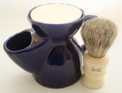 Progress Vulfix 404 Badger/bristle shaving brush & blue pottery shaving mug