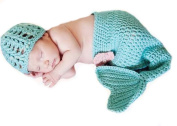 Orien Baby Newborn Boy Girl Infant Crochet Cotton Knit Turquoise Mermaid Beanie Hats Cap Nappy Cover Costume Set Photography Photo Prop 0-6 Months