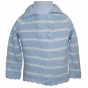 Powell Craft - Knitted blue striped pram coat 12/18 mths