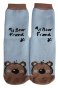 "Weri Spezials High ABS Terry Socks, light Blue, ""My Bear Friend""."