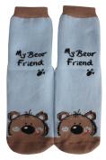 """Weri Spezials High ABS Terry Socks, light Blue, """"My Bear Friend""""."""