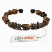 Amber Bracelet - sizes from 18 to 23cm - 100% Genuine Raw Baltic Amber Beads - Adult Men Women - Authentic Curative Adornment - Packed in Organza Gift Bag - BLK.U18-23