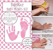Baby Hand & Footprint Inkless Wipe Keepsake Kit Pink Prints by BabyRice