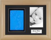 Anika-Baby BabyRice Baby Boy Handprint Footprint Kit Soft Blue Clay Dough Beech Effect Box Photo Display Frame