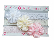 Baby Girls 3 Piece Lacey Headbands Satin Flowers Gift Set Infants Cute Diamante White Pink Cream Stretch
