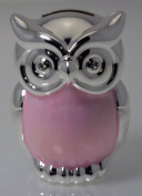 Christening Baby Pink Silver Plated Owl Money Box
