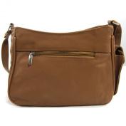 Womens Leather Handbag / Shoulder Bag with Side Mobile Pocket