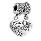 Believe Beads x1 Mother Daughter Dangle Antique Silver Plated Charm Bead will fit Pandora/Troll Style Charm Bracelet