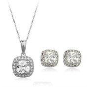 Brilliance Earrings & Pendant Necklace Jewellery Set with. Crystals in 18ct White Gold Finish
