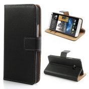 HTC One 1 Wallet Flip Case Black Genuine Leather Card Holder Brown Interior+2 Screen Protectors