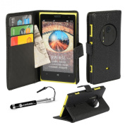 MadCase® Premium Flip Leather Wallet Case Cover For NOKIA LUMIA 1020 SMARTPHONE with Stylus Pen & Screen Protector - Black