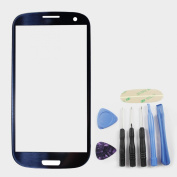 Pebble Blue Front Glass (LCD Display and Touch Screen not included) For Samsung Galaxy S3 III GT-i9300 ~ Mobile Phone Repair Part Replacement