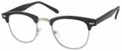 +1.00 Clubmaster Style Black & Silver Frame Reading Glasses Men Women Unisex - Retro Vintage Classic +1 Prescription