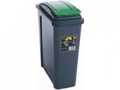 25l slimline recycle kitchen waste bin 25 litre plastic storage bin with green l ebay - Slimline waste bin ...