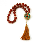 33 Carnelian Muslim Prayer Beads with Gold Filled Beads and Round Nepalese Bead