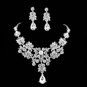 C879 3PCS Shining Super Beautiful High Quality Crystal Pearl Bridal wedding Jewellery Sets Imperial crown+Necklace+earrings Classic Jewellery Wedding Accessory, Party Jewellery