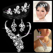 C950 3PCS Shining Super Beautiful High Quality Crystal Pearl Bridal wedding Jewellery Sets Imperial crown+Necklace+earrings Classic Jewellery Wedding Accessory, Party Jewellery