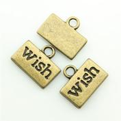 50pcs 13×11mm Wish Charms Antique Bronze Tone Pendant A10165