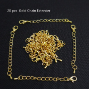 Ximico 20pcs Gold Colour Chain Extender for Jewellery Necklace/lovely Water Droplets Chain to Add an Extra Length to Your Favourite Necklaces, Bracelets or Anklets