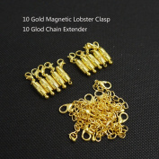 Ximico 20pcs Gold Tone Magnetic Lobster Clasp and Chain Extender for Jewellery Necklace/lobster Clasp with a Magnetic Latch to Make Most Jewellery Clasps Connect Effortlessly/chain Extender As an Extra Length to Your Favourite Necklaces, Bracelets or A ..