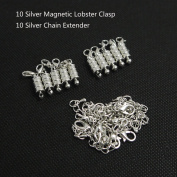 Ximico 20pcs Silver Tone Magnetic Lobster Clasp and Chain Extender for Jewellery Necklace/lobster Clasp with a Magnetic Latch to Make Most Jewellery Clasps Connect Effortlessly/chain Extender As an Extra Length to Your Favourite Necklaces, Bracelets or ..