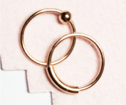 Nose Rings, 8mm TINY, ROSE gold over Sterling Silver, Set of TWO, captive bead and plain hoop, lip,eyebrow,body piercing