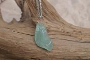 Aqua Sea Glass Sterling Silver Necklace
